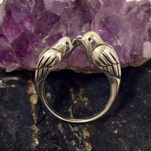 Sterling Silver Kissing Birds Ring Boho Jewelry